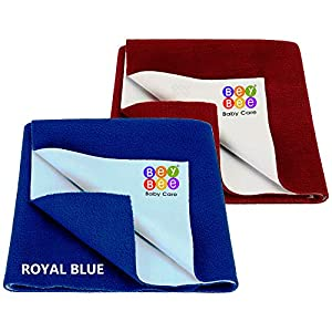 BeyBee® Water Resistant Bed Protector Baby Dry Sheet with Ultra absorbance (RoyalBlue/Maroon)