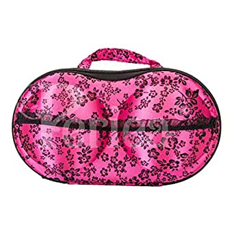 Periea Bra Case Travel Organiser - Belle - 10 Colors Available (Bright Pink with Black Flowers)