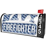 NEONBLOND Navy Firefighter, Blue Stripes Magnetic Mailbox Cover Custom Numbers