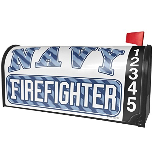 NEONBLOND Navy Firefighter, Blue Stripes Magnetic Mailbox Cover Custom Numbers by NEONBLOND