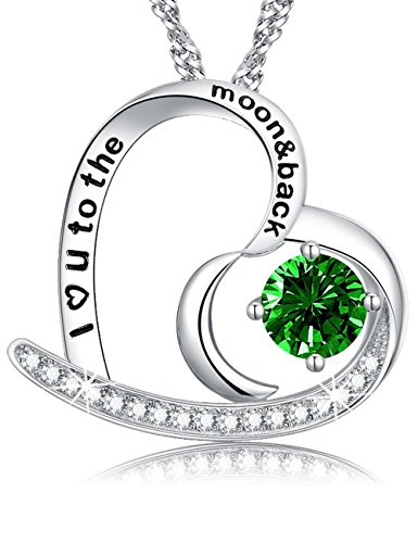 (Engraved I Love You to The Moon and Back Green Emerald Jewelry Heart Necklace Sterling Silver Swarovski Pendant Birthday for Her for Women)