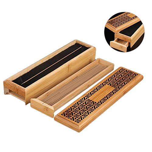 cheerfullus Double-Layer Wooden Incense Box Incense Stick Burner Case Storage Box