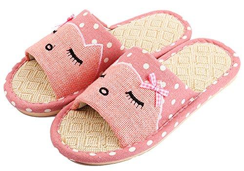 Heren En Dames Cat Print Slippers Hennep Polka-dots Paar Huis Schoenen Roze