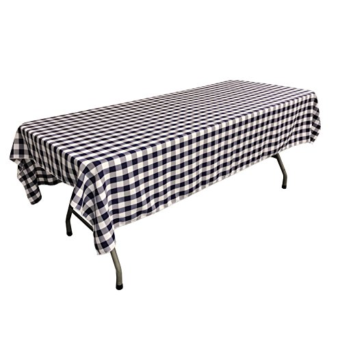 LA Linen Checkered Tablecloth, 60 by 102-Inch, Navy -