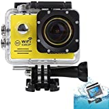 HD 1080P Waterproof Sports Action Video Camera 12MP Wifi Helmet Camcorder Wide Angle Diving DVR(WiFi DV-Yellow)
