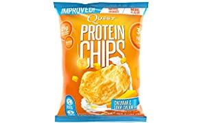 Quest Nutrition Protein Chips, Cheddar & Sour Cream, 22g Protein, 4g Net Carbs, 130 Cals, 1.2oz Bag, 1 Count, High Protein, Low Carb, Gluten Free, Soy Free, Potato Free