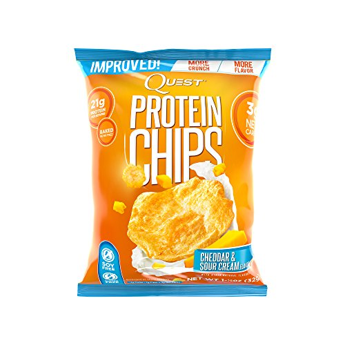 Quest Nutrition Protein Chips, Cheddar & Sour Cream, 21g Protein, 4g Net Carbs, 130 Cals, Low Carb, Gluten Free, Soy Free, Potato Free, Baked, 1.125oz Bag, 8 Count
