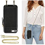 ZVE Case for Apple iPhone 6s Plus and iPhone 6 Plus, 5.5 inch, Leather Wallet Case with Crossbody Chain Credit Card Holder Slot Zipper Pocket Purse Case for Apple iPhone 6s / 6 Plus 5.5 - Black