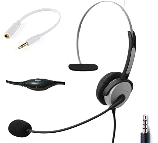 Voistek Wired Cell Phone Headset With Noise Canceling Boom Mic Adjustable Headband For Iphone Samsung