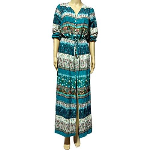 Col Longue Floral Maxi Robe OverDose Femme Dress Vert Dress Plage Ete BohMien De V Robe qpaawv1I5