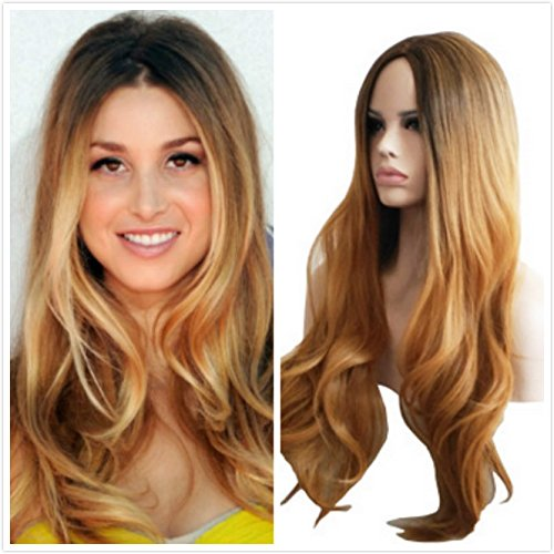 Wigbuy Blonde Wigs Ombre Hair Long Wavy 2 Tones Heat Resistant Synthetic Cosplay Dark Root Hair Replacement Hair Wigs Wig Full Wig For Women (Dark Blonde Wig)