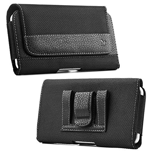 Luxmo Holster Case for Moto G7, G7 Power, G7 Play, G7 Supra, G7 Plus - Synthetic PU Leather Fabric Belt Clip/Loops Phone Pouch Holder and Atom Cloth - Black Black Fabric Horizontal Case