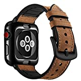 OUHENG Compatible with Apple Watch Band with Case 42mm, Sweatproof Genuine Leather and Rubber Hybrid Band with Soft TPU Case Watch Band Strap Compatible with Apple Watch Series 3 2 1, Brown