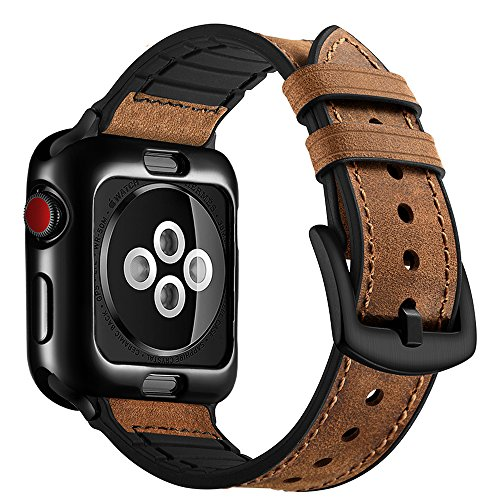 OUHENG for Apple Watch Band 42mm with Case, Soft TPU Case with Retro Genuine Leather Band and Rubber Hybrid Sweatproof iWatch Replacement Strap for Apple Watch Series 3 2 1 Sport and Edition, Brown by OUHENG