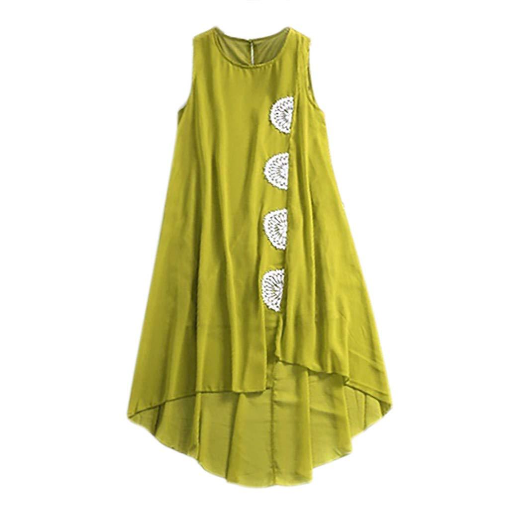 Women's Blouses Ladies Sexy Sleeveless O-Neck Shirt Irregular Hem Pullover Vest Tops Tunic Green