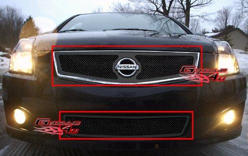 (APS Fits 07-10 Nissan Sentra SE-R Black Mesh Grille Combo #N71002H)