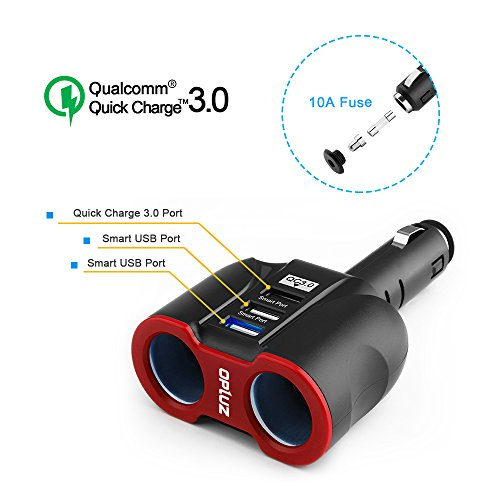QC3.0 Smart Car Charger, 2 Socket + 3 USB (2xSmart USB Port & 1xQC3.0 USB Port) Multifunction Car Socket Splitter Adapter Built-in 10A Fuse for Smart Phones, Tablets, GPS, MP3 Players (Charger Standard Vehicle Lighter)