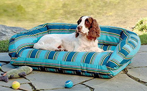 Orvis Watershed Indoor/Outdoor Bolster Dog Bed Cover/Medium, Blue Multi, Medium by Orvis