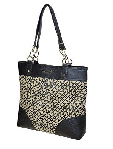 Signature Alpaca Chain Hilfiger Large Tommy Handbag Logo Tote Black CxOwHZ