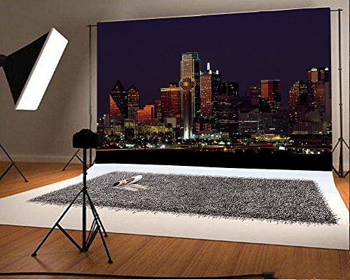 Laeacco Vinyl 7x5ft Photography Background Dallas Texas Skyscraper Famous City Buildings Bustling Night View Personal Portraits Wedding Backdrop Realistic Shooting Studio (Halloween Concert Dallas)