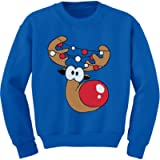 Tstars Funny Reindeer Face Ugly Christmas Toddler Kids Boys Sweatshirts