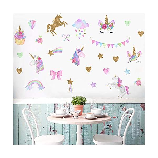 [2 PCS] Unicorn Wall Decals, Romantic Unicorn Wall Stickers Girls Bedroom, Unicorn Wall Stickers Decorations, Wall Decor with Clouds 9