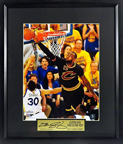 "Cleveland Cavaliers LeBron James ""Rejecting Curry' 11x14 Photograph (SGA Champion Signature Series) Framed"