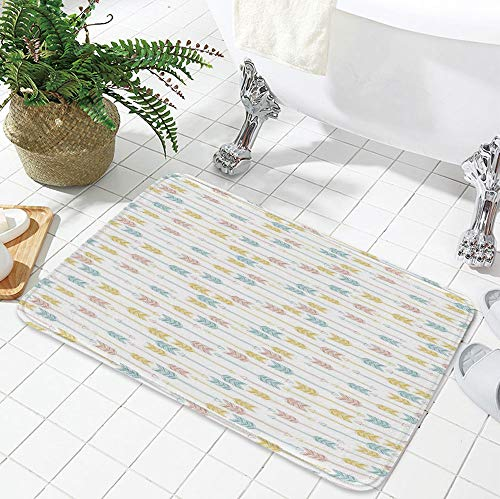 TecBillion Bath Mat,Arrow Decor,for Dining Room Bathroom Office,23.62