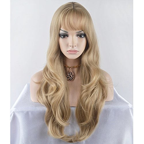 BERON 27.5'' Fashion Women Girls Long Curly Wavy Synthetic Wig with Air Bangs Wig Cap Included (Linen -
