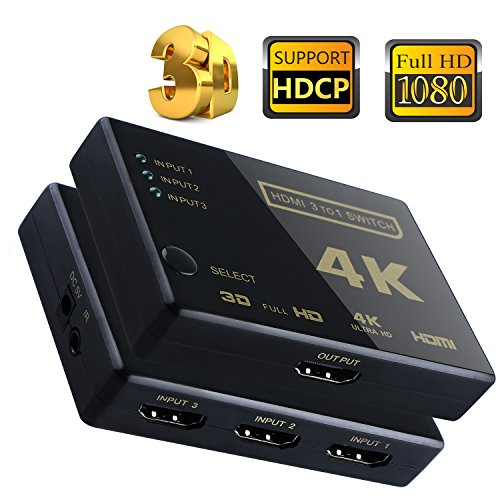 3 Ports HDMI Switcher 3x1 Video Switch Adapter Support Ultra HD 4kx2k 3D HDCP with Remote Control ( (Sky Digital Remote)