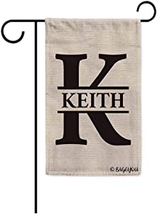 BAGEYOU Personalized Monogram Initial Letter K and Your Last Name Garden Flag for Outside Black 12.5X18 Inch Printed Double Sided