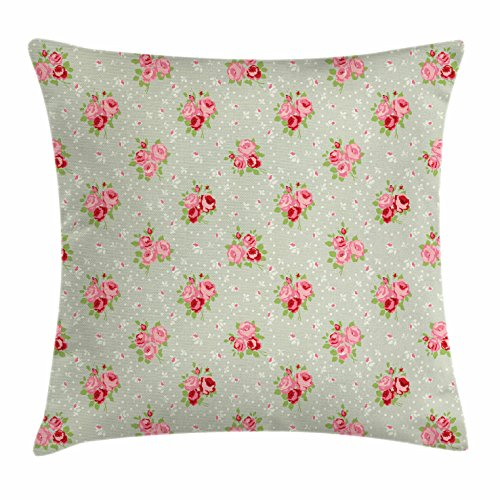 Lunarable Roses Throw Pillow Cushion Cover, Shabby Chic English Roses Feminine Spring Garden Flourish Retro Style, Decorative Square Accent Pillow Case, 16 X 16 Inches, Reseda Green Coral Ruby