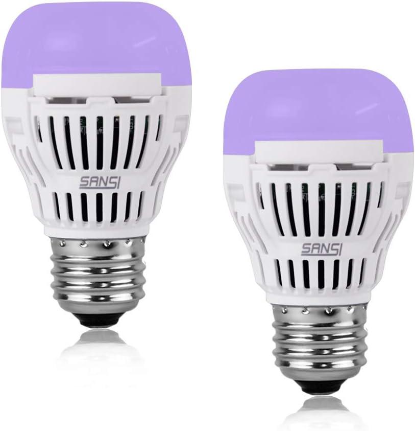 SANSI 5W UV LED Black Light Bulb, UVA Level 320-400nm Light, Ultra Violet LED, Glow in The Dark for Party, Body Paint, Fluorescent Poster, Neon Glow (2 Pack)