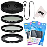 8in1 Accessories Kit for Sony RX100 V IV III II RX100M5 M3 M4 M2 : 52mm Filter Adapter + 52mm UV + CPL Filter + 2X Glass Screen Protector + Lens Cap + Lens Cap Hook Keeper + Microfiber Cleaning Cloth