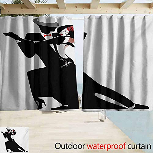 XXANS Curtains for Bedroom Vintage Girls and Woman Partners Romantic Dance Tango Waltz Love Valentines Rhythm Music Art,W108x84L Inches,Theme Decor Curtains Black White (3 The Rhythm Of Love Theme Music)