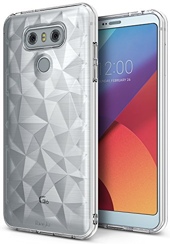 Ringke Air Prism Compatible with LG G6, LG G6 Plus Case Luxurious Vogue Trendy Design Chic Ultra Rad Pyramid Stylish Diamond Pattern Flexible Gemstone-Like Texture Defensive TPU Cover - Clear