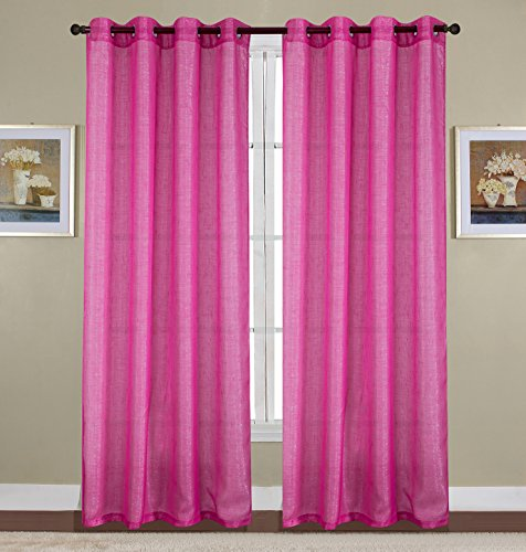 RT Designers Collection Sparkle Woven 54 x 90 in. Lurex Grommet Curtain Panel, Neon Pink