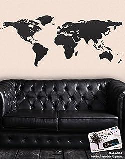 Superior Black World Map Wall Decal Sticker   Stickerbrand Home Decor Vinyl Wall  Art. Large (