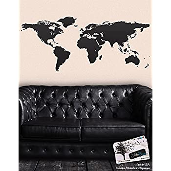 Black World Map Wall Decal Sticker   Stickerbrand Home Decor Vinyl Wall  Art. Large (30in X 75in) Die Cut Size. Removable.
