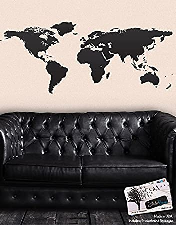 Amazon black world map wall decal sticker stickerbrand home black world map wall decal sticker stickerbrand home decor vinyl wall art large gumiabroncs