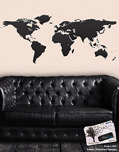 Black World Map Wall Decal Sticker - Stickerbrand Home Decor Vinyl Wall Art. Large (30in X 75in) Die-Cut Size. Removable.
