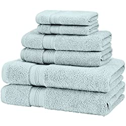 Pinzon Low Twist Pima Cotton 650-Gram 6-Piece Towel Set, Spa Blue