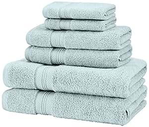 Pinzon Low Twist Pima Cotton 650-Gram 6-Piece Towel Set, Spa Blue