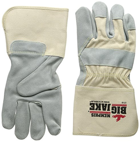 Palm Gloves Cuff Leather (Memphis Glove 1710XL Big Jake Cow Leather Sewn Kevlar Gloves with 4-1/2-Inch Gauntlet Cuff, Natural Pearl, X-Large, 1-Pair)