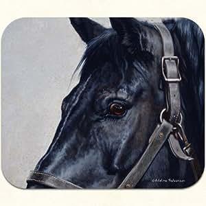 Fiddler's Elbow Fiddlers Elbow- Black Horse Mouse Pad by Adeline Halvorson