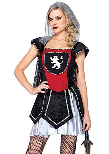 [Leg Avenue Women's Royal Knightess Costume, Black/Red, Small/Medium] (Lady Knight Costume)
