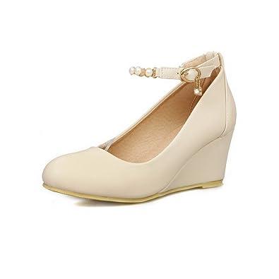 Damen Rein Weiches Material Mittler Absatz Rund Zehe Pumps Schuhe, Cremefarben, 33 VogueZone009