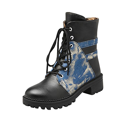 Latasa Womens Lace up Chunky Heels Short Oxford Boots black ( main color ) msJAc1