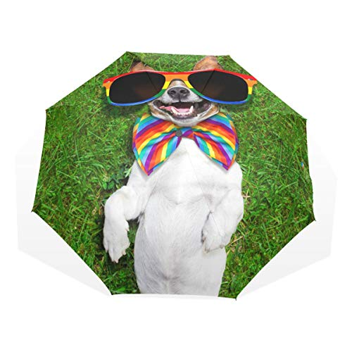 Funny Dog Lying On The Lawn Windproof Portable Umbrella Parasol Compact Easy Carry Sun Block