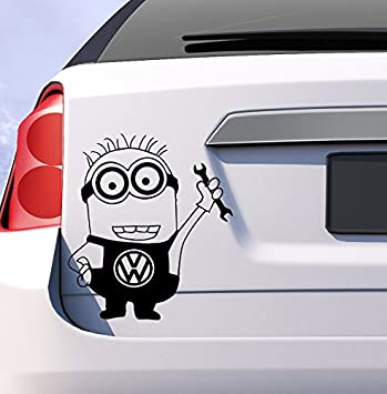 Vw volkswagen minion car vinyl sticker decal golf passat uk funny gift humor
